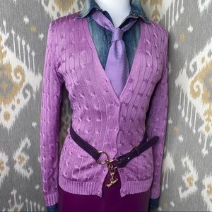 Ralph Lauren Orchid Silk Cable-Knit Cardigan Sweater
